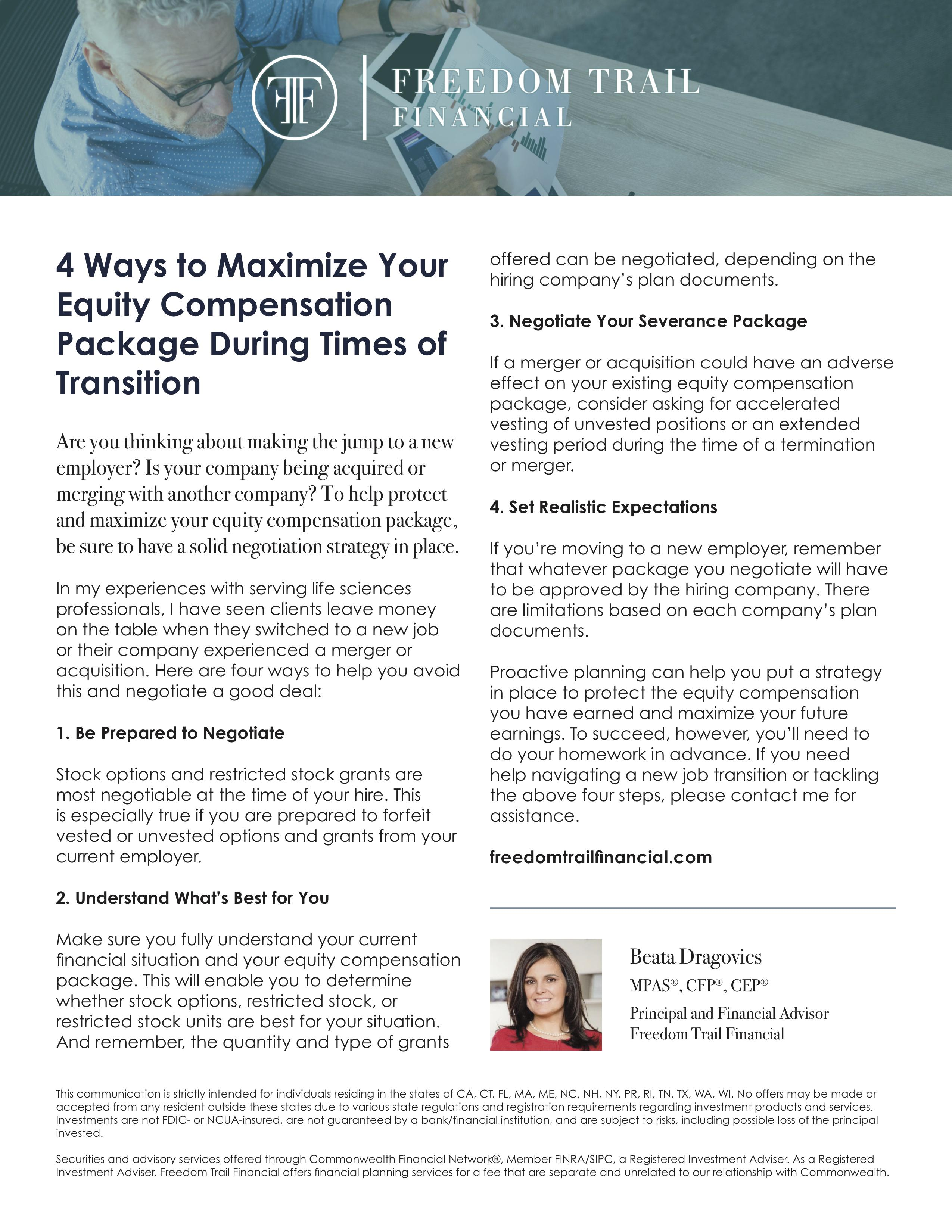 Freedom Trail Financial - Maximize Equity Compensation